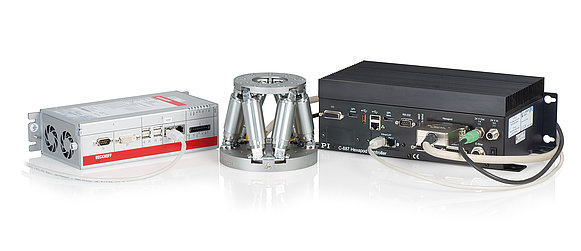 H-811 miniature hexapod with C-887.532 motion controller with EtherCAT interfaces and motion stop
